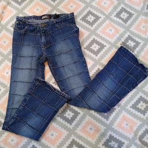 Vtg. 90's Patchwork Flare Leg Lazer Jeans